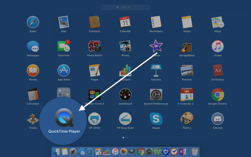 open quicktime in launchpad