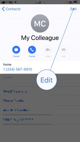 edit iPhone contact information