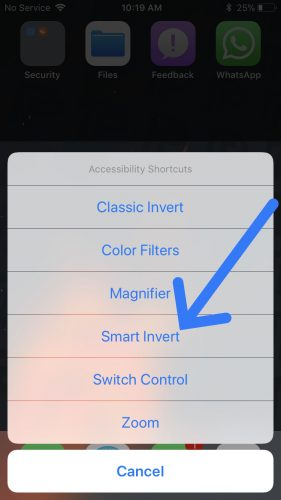 tap smart invert accessibility shortcut