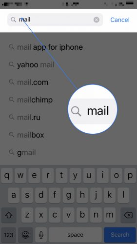 search mail in app store