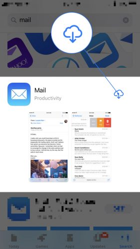 reinstall mail app on iphone