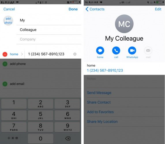 extension added to iphone contact