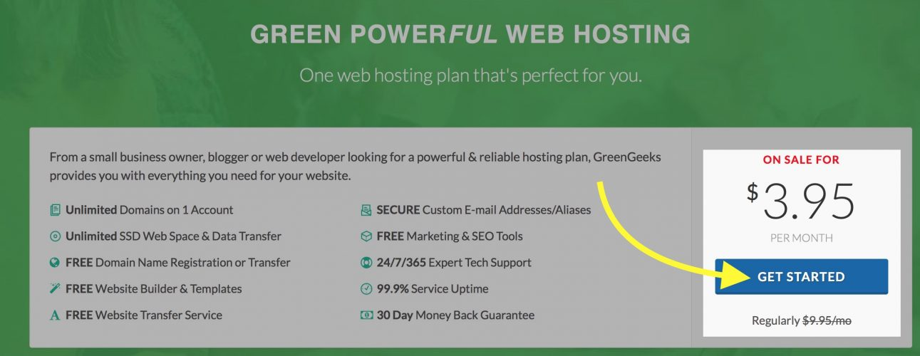 get started with greengeeks hosting plan