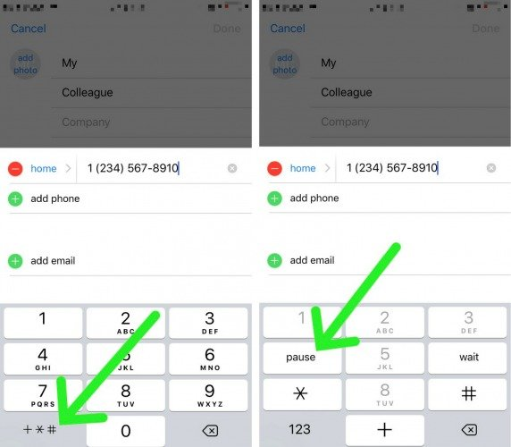 set up contact extension iphone