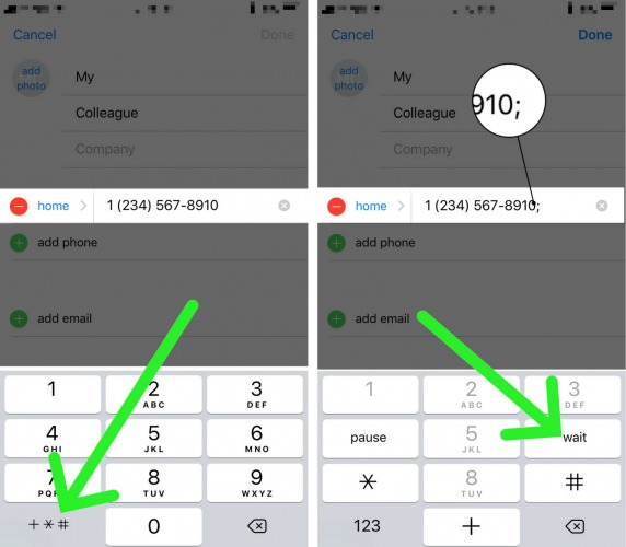 tap wait to add extension to iphone contact