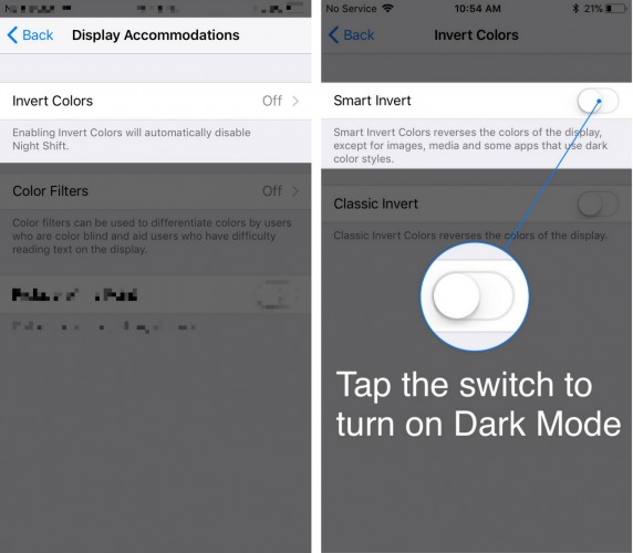 turn on iphone dark mode