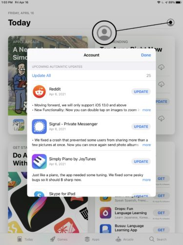 update ipad apps