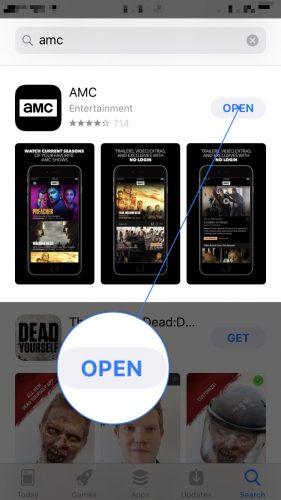 download install open amc app