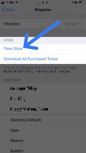 open the tone store on iPhone