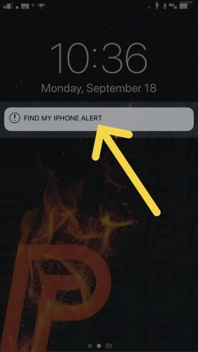 find my iPhone alert screenshot
