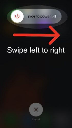 swipe power icon left to right on display