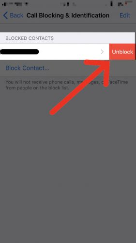 tap unblock to unblock caller settings app
