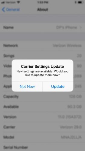 Carrier Settings Update On iPhone