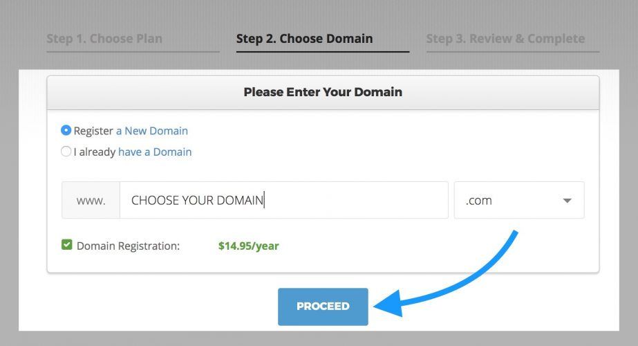 choose a domain on siteground
