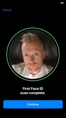 Face ID scan continue button