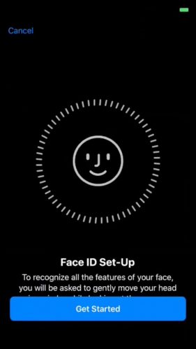 Face ID Set-up Screen
