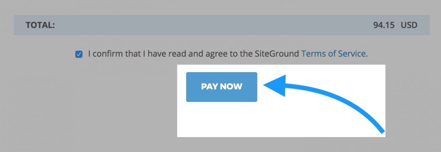 pay now for siteground hosting