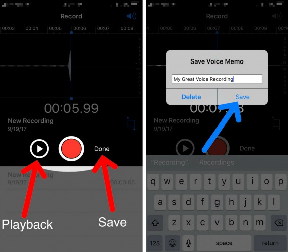 record voice on iphone