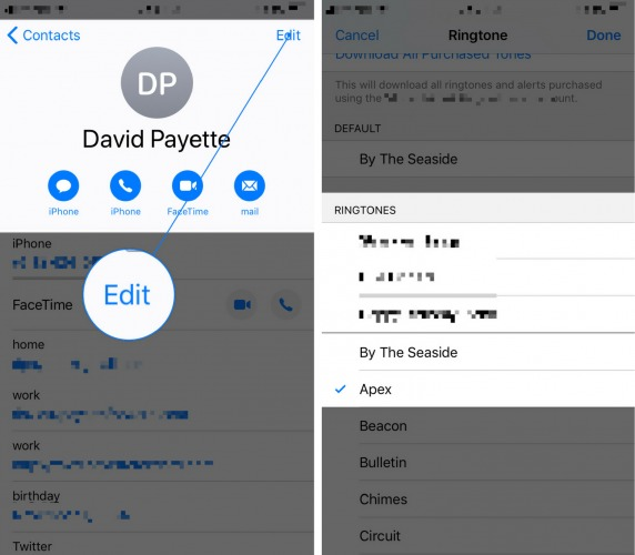 set ringtone on iphone for specific contacts