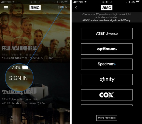 sign in cable account amc app