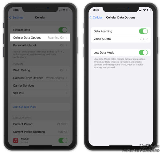 turn on cellular roaming on iphone