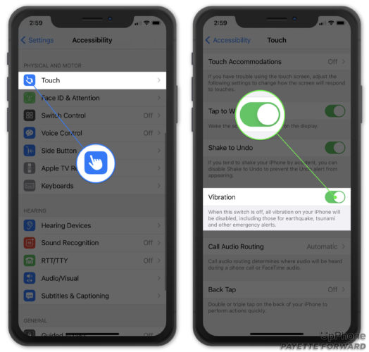 turn on vibration in accessibility settings