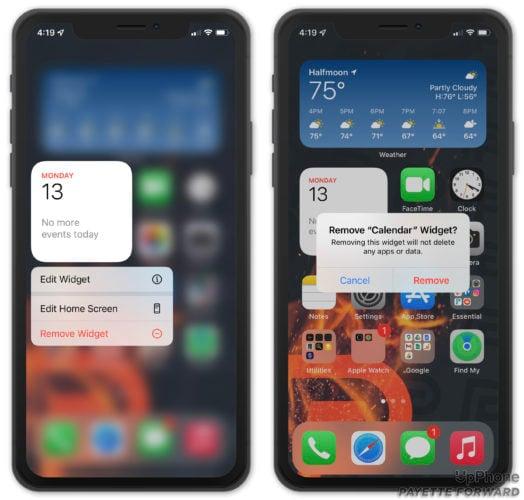remove home screen widget on iphone