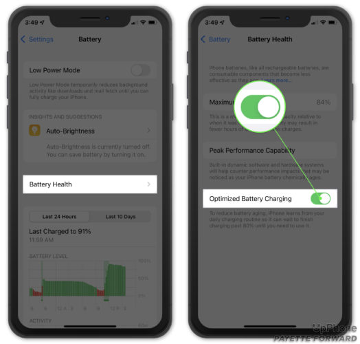turn on iphone optimized battery charging