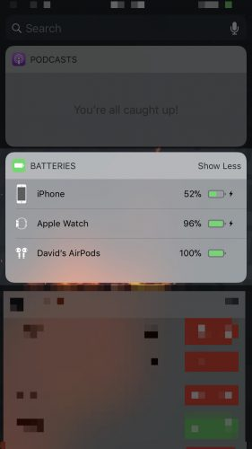 batteries widget on iphone