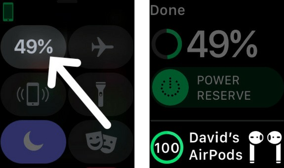 check airpods battery life on apple watch