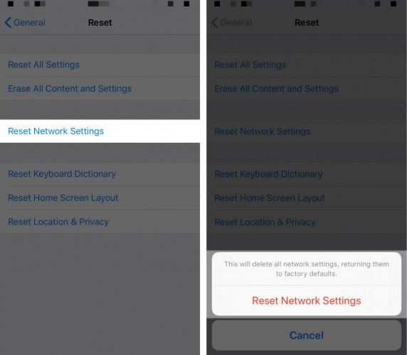 how to reset the network settings on iphone