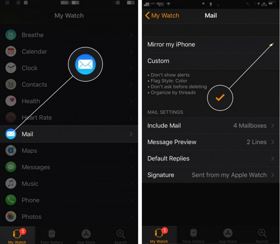 mirror mail app settings from iphone