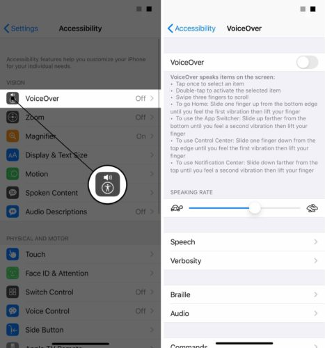 settings accessibility voiceover