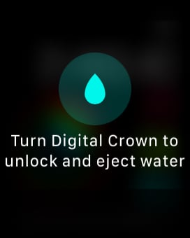 turn digital crown to unlock and eject water