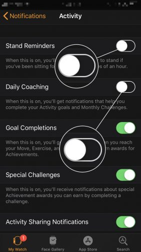 turn off push notifications apple watch