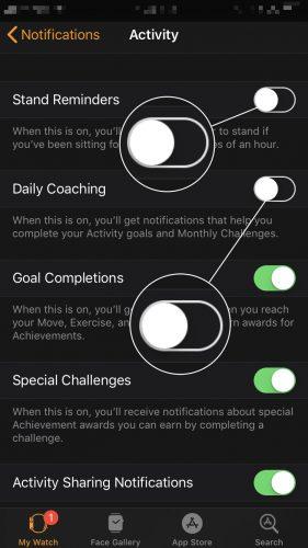 turn off push notifications apple watch