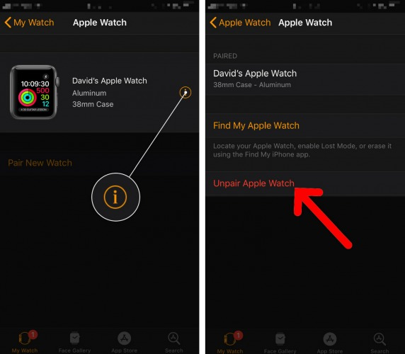 unpair apple watch and iphone