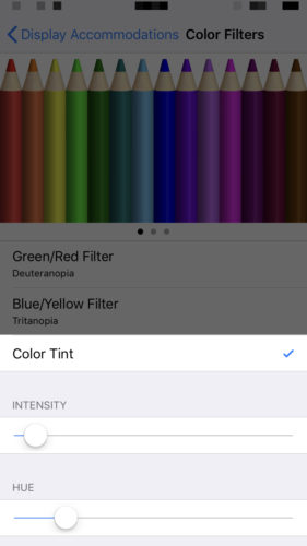 adjust color filters on iphone