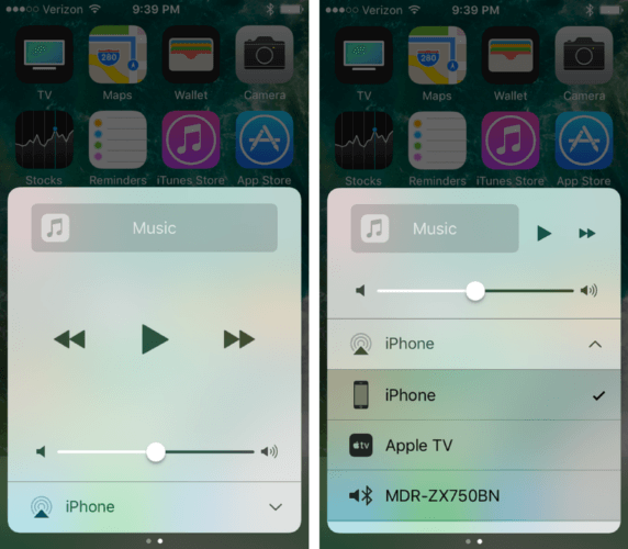 audio playback ios 10 control center