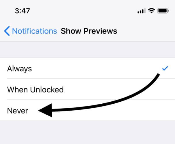 Notifications Change To Never iPhone X