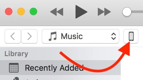 click the iphone button in itunes