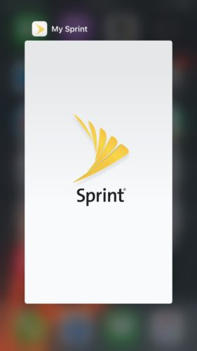 my sprint app in app switcher