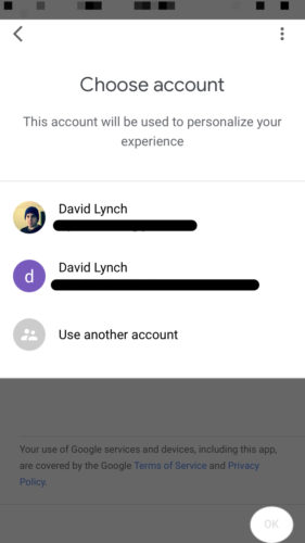 choose gmail account for google home