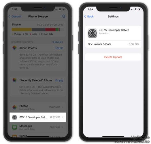 delete ios update in settings