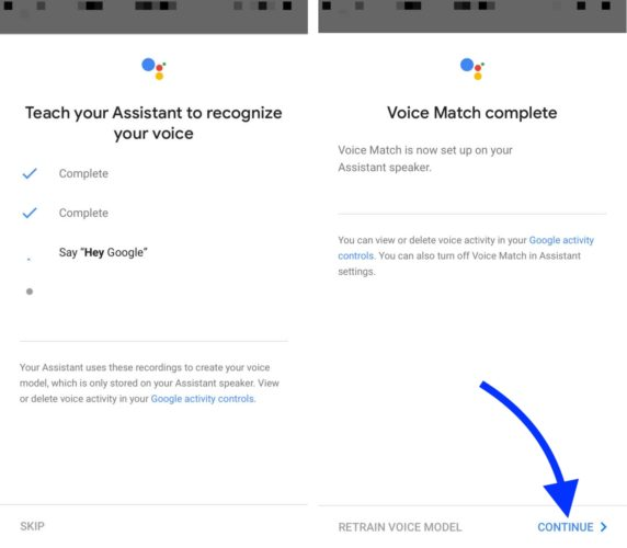 google home voice match complete