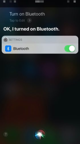 turn on bluetooth using iphone siri