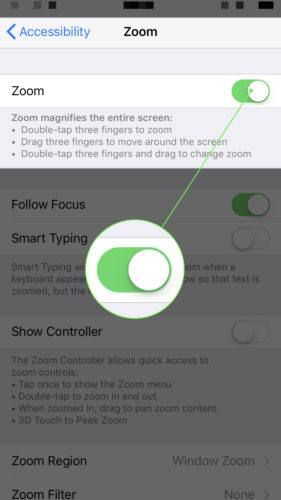 turn on zoom on iphone in settings app