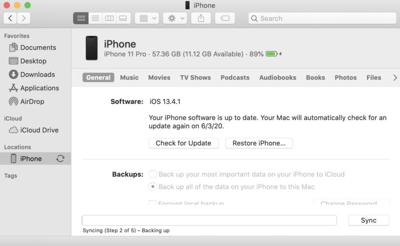 update iphone using finder