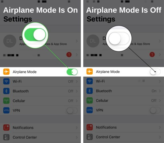 airplane mode off vs on