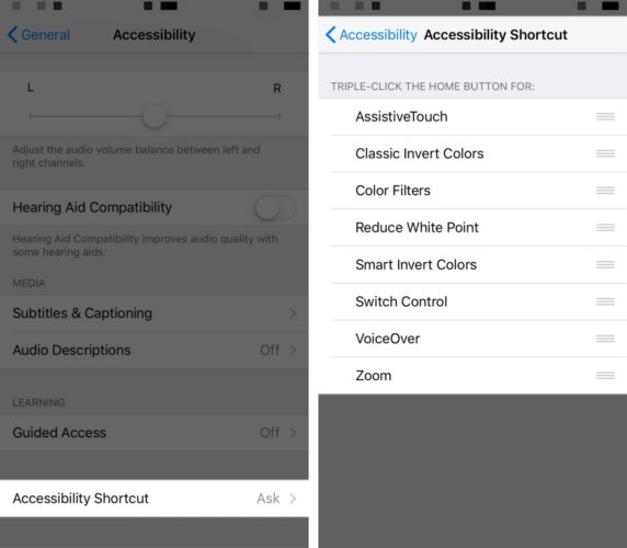 turn off accessibility shortcuts settings on iphone